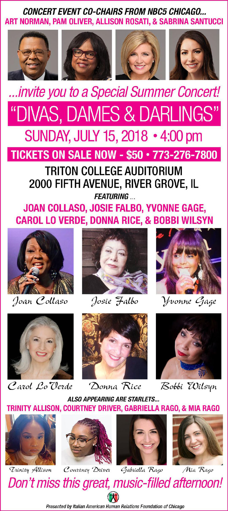 Dames, Divas, & Darlings Flier